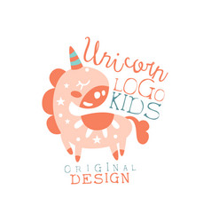 Unicorn kids logo original design bashop label vector