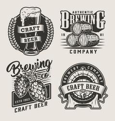 Vintage monochrome craft beer badges vector