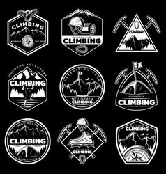 Vintage white mountain climbing logos set vector