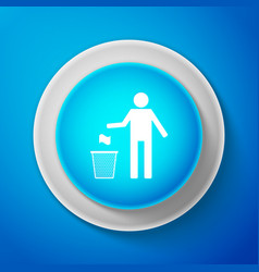 white trash can icon isolated garbage bin sign vector image