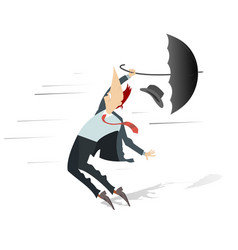 Windy day and man with a hat and umbrella isolated vector