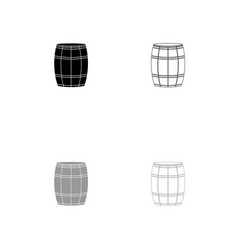 wine or beer barrels black and grey set icon vector image