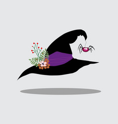 witch hat decorated with flowers vector image