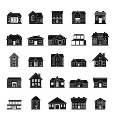 houses icon set in black silhouettes simple style vector image vector image