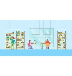Interior Public Library with Furniture and People vector image