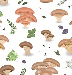 Seamless texture with Edible mushroom oysters and vector image