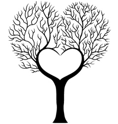 Tree branch in shape of heart vector image