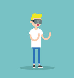 young blond teenage boy wearing virtual reality vector image vector image