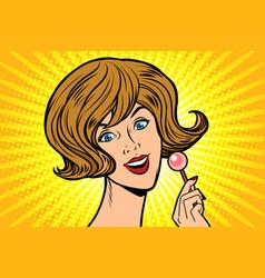 joyful woman and lollipop vector image vector image