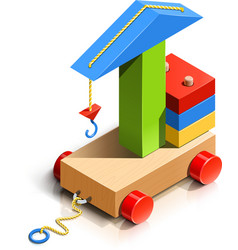 lifting crane wooden toy vector image vector image