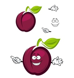 Ripe purple cartoon plum fruit with a green leaf vector image vector image