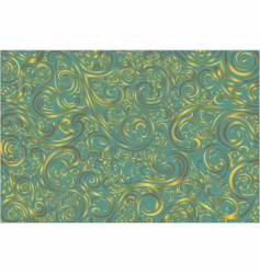 teal and gold scroll work vector image vector image