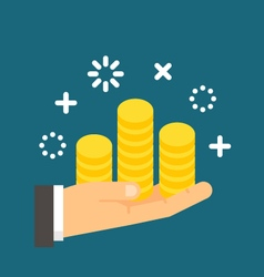 Flat design hand holding coins vector image vector image