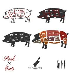 Pork cuts vector