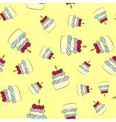 Seamless cream cake pattern with yellow background vector image
