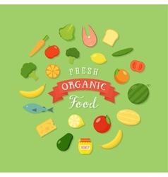 Fresh Organic Food Flat Style Icon Set vector image