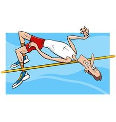 high jump sportsman cartoon vector image vector image