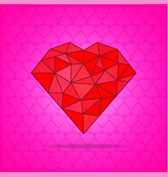red abstract polygonal heart on pink background vector image vector image