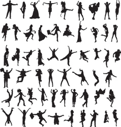 set of silhouettes of happy people vector image vector image