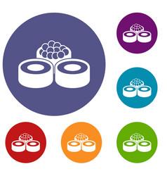sushi icons set vector image