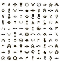 100 Awards icons set simple style vector image