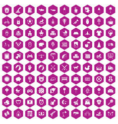 100 nursery icons hexagon violet vector