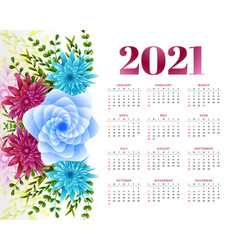 2021 new year calendar design with flower vector