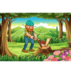 A hardworking lumberjack chopping woods at the vector