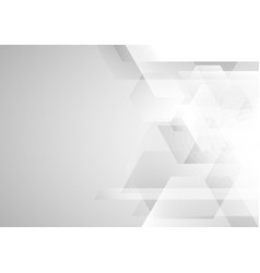 abstract white and gray geometric hexagon vector image