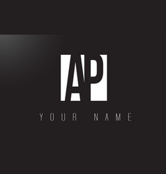 ap letter logo with black and white negative vector image