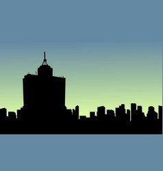 At sunrise mexico city scenery silhouettes vector