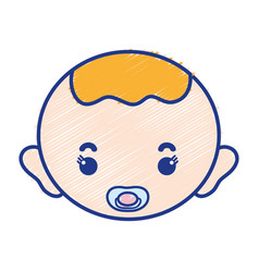 baby boy head with pacifier and hairstyle vector image