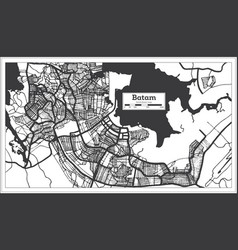 Batam indonesia city map in black and white color vector