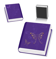 book with a butterfly gold vector image