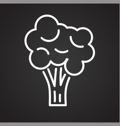 broccoli line icon on black background for graphic vector image