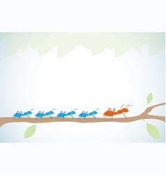 brown ant lead blue ants on branch with leaves vector image