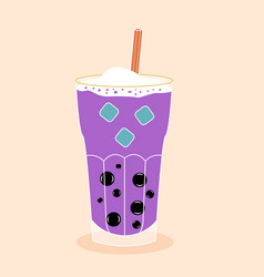 Bubble tea with tapioca with ice vector