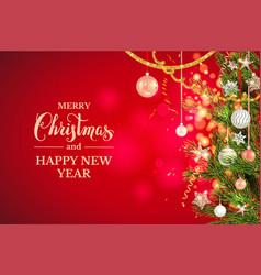 Christmas balls stars golden tinsel vector