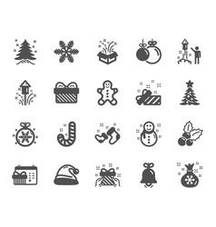 christmas icons set of santa hat gingerbread man vector image