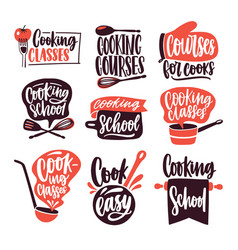 Collection of lettering written with cursive font vector