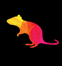colorful origami rat black background vector image