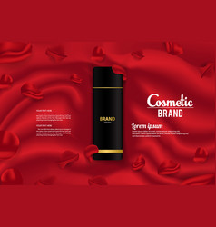Cosmetic banner ads product packaging template vector