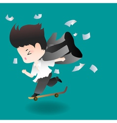 Cute cartoon or mascot businessman happily skates vector