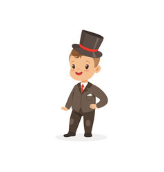 cute little boy wearing suit and black top hat vector image