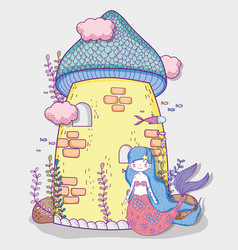 Cute mermaid woman and castle with clouds and vector