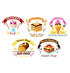 Dessert emblem set cake cupcake ice cream icons vector