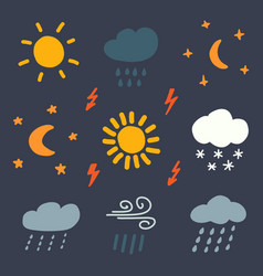 doodle weather color icons vector image