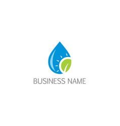 droplet bio water eco leaf logo vector image