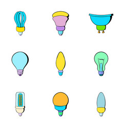 Electricity icons set cartoon style vector
