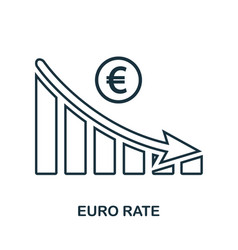 Euro rate decrease graphic icon mobile app vector